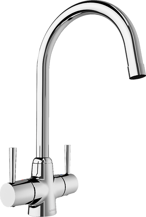 Blanco Arti Twin Lever Mixer Tap Chrome and Classic Stainless Finish