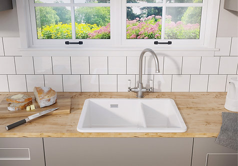 Blanco Villae 1.5 Bowl Inset/Undermount Ceramic Sink & Tap Pack 455796