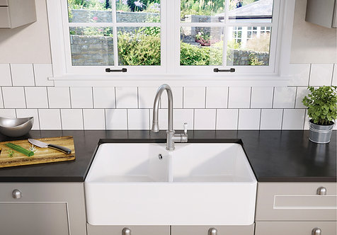Blanco Villae Double Farmhouse 80 Ceramic Sink & Tap Pack 455789