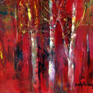 Birches Against Red