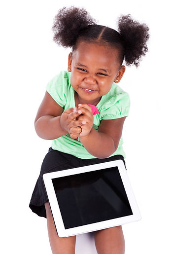 Beautiful black girl with bunches smiling using her First Class Coders computer tablet