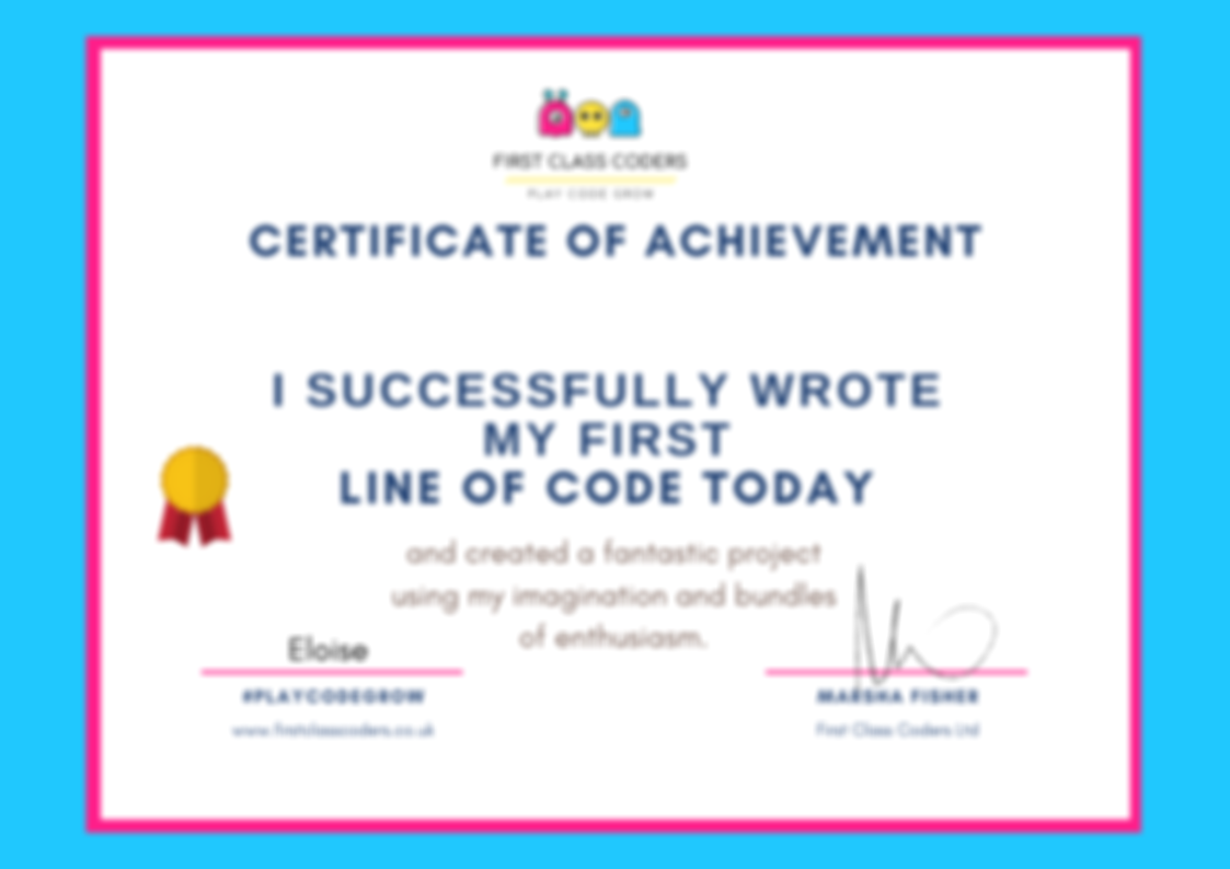 Certificate of Achievement - First line of code