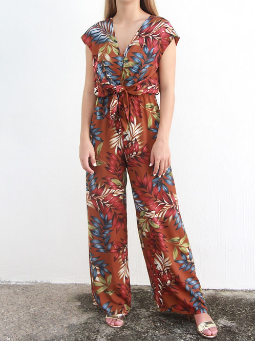 JUMPSUIT CAFE CON HOJAS MODELO 290413S