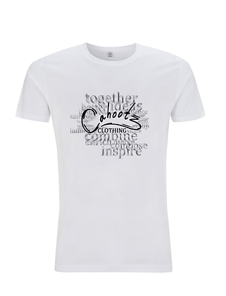 Mens Definition t-shirt in White with faded black lettering