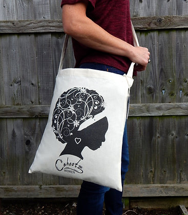 Organic Sling tote bag.  Image afro haired woman in Black
