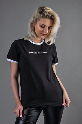 Black Ringer t-shirt with contrasting hem And cuffs.