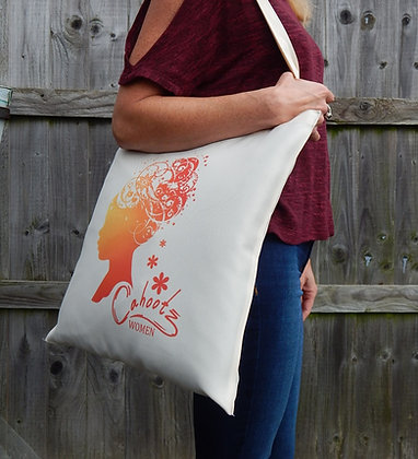Tote bag with figure design. Image Elegant woman in Orange