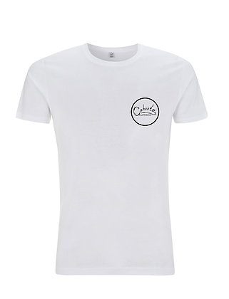 White t shirt with White badge design on left breast