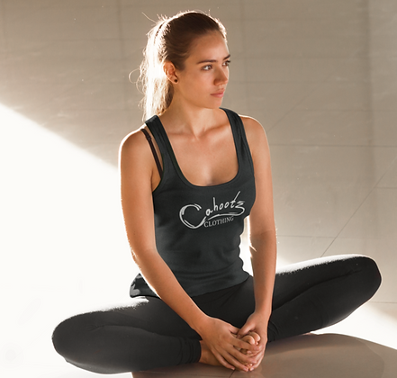 Gym /Yoga ribbed workout vest in Black with logo