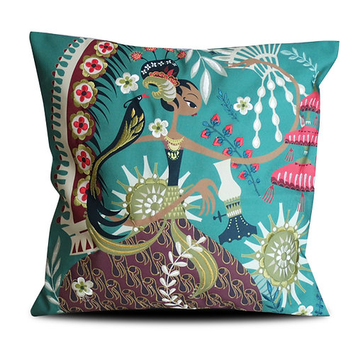 Sriwedari Diajeng Green Embroidered Cushion Cover
