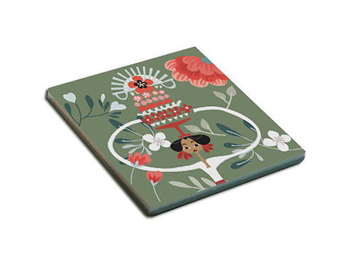 Green Tiga Dara Ceramic Coaster