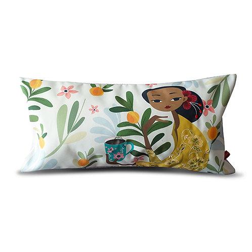 Orange Garden Peranakan Series Embroidered Long Cushion Cover