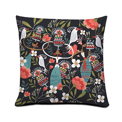 Tiga Dara Dark Cushion Cover