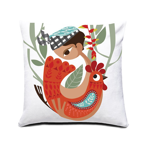 Ketut and the Rooster Cushion Cover