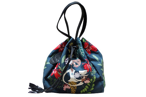 Katresna Dark Embroidered Bucket Bag