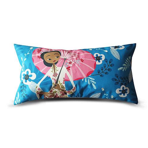 Nyonya with Umbrella Peranakan Series Embroidered Long Cushion Cover