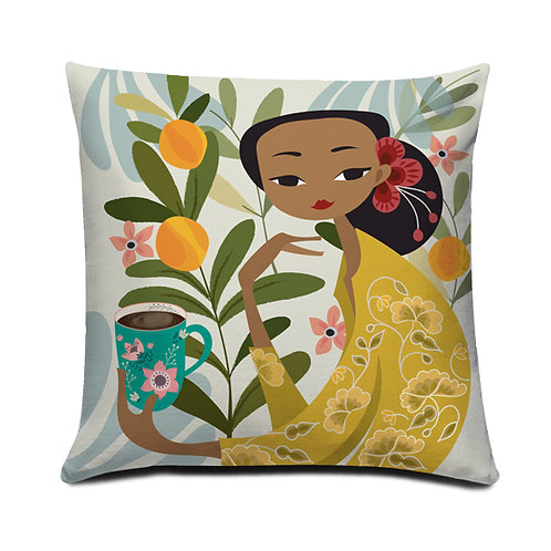 Orange Garden Peranakan Series Embroidered Cushion Cover