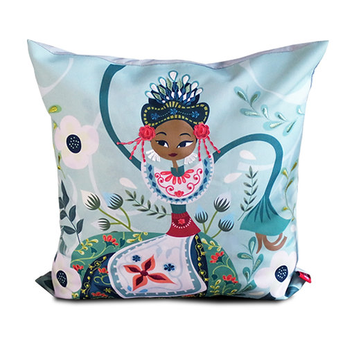 Nandak Ganjen Blue Embroidered Cushion Cover