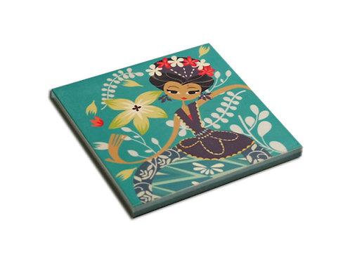 Green Dancing Jakarta Ceramic Coaster