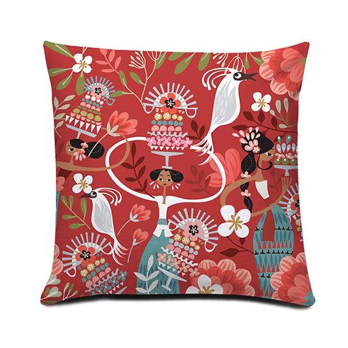 Tiga Dara Red Cushion Cover