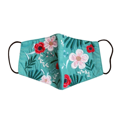 Embroidered Face Mask & Pouch Set Tea Talk