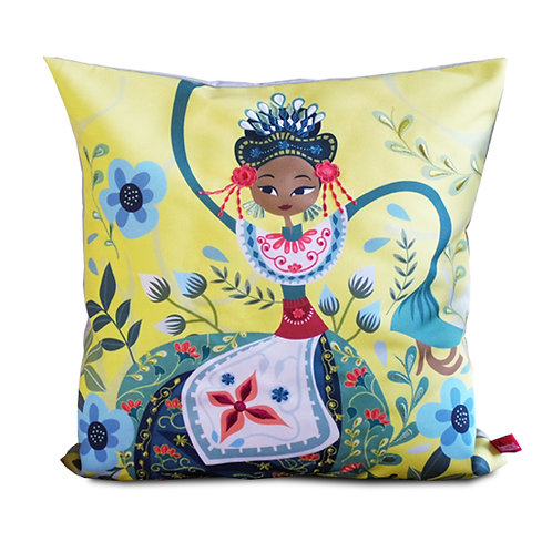 Nandak Ganjen Yellow Embroidered Cushion Cover
