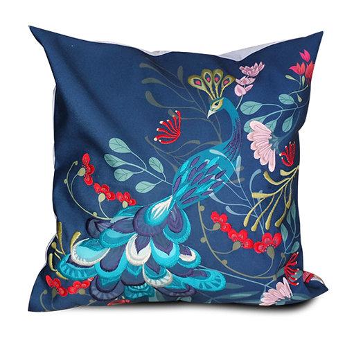 Peacock Garden Embroidered Cushion Cover