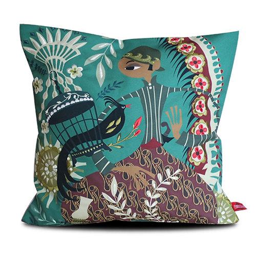 Sriwedari Kangmas Green Embroidered Cushion Cover