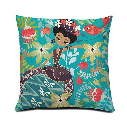 Dancing Jakarta Blue Cushion Cover