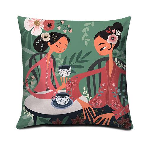 Tea Talk Peranakan Series Embroidered Cushion Cover