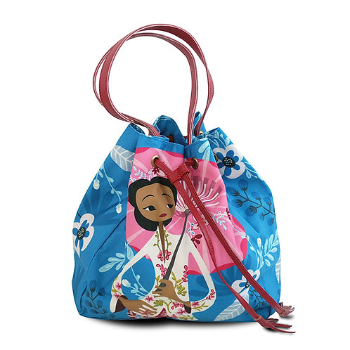Peranakan Nyonya with Umbrella Embroidered Bucket Bag