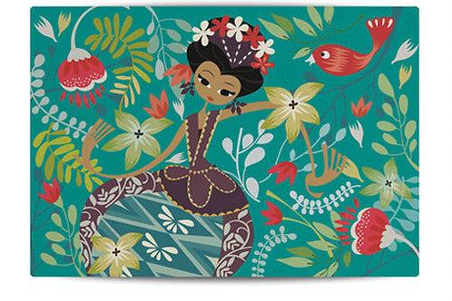 Dancing Jakarta Green Canvas Placemat
