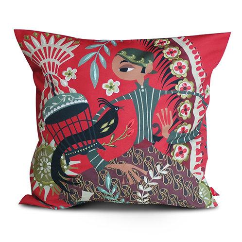 Sriwedari Kangmas Red Embroidered Cushion Cover
