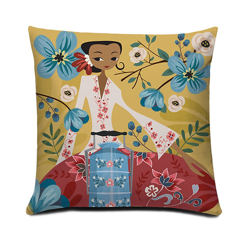 Vintage Picnic Peranakan Series Embroidered Cushion Cover