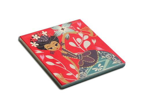 Red Dancing Jakarta Ceramic Coaster