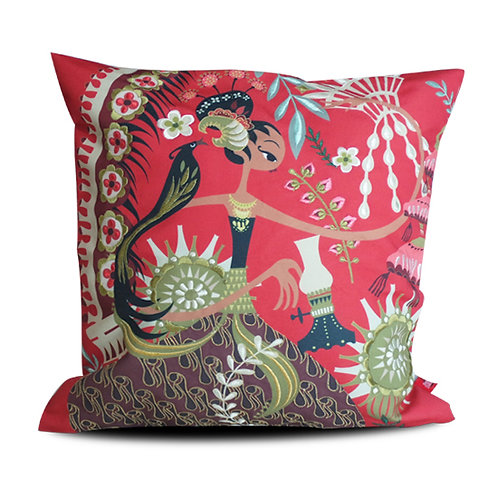 Sriwedari Diajeng Red Embroidered Cushion Cover