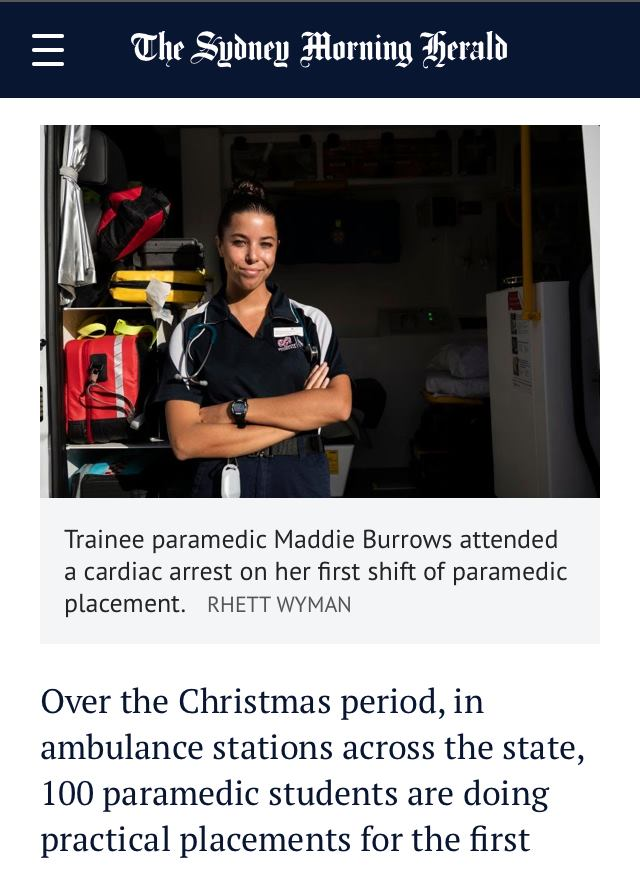 Trainee paramedics hit the road at Christmas.