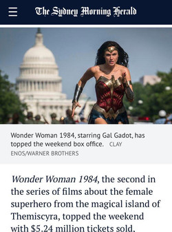 Wonder Woman tops weekend box office but takings were significantly down.