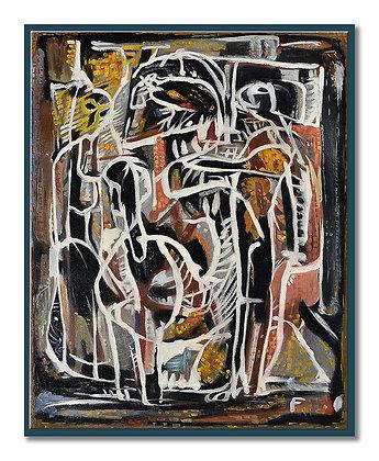 "Brush style practice canvas of Fairweathers' ""Birdcage"" 1955 - NFS"