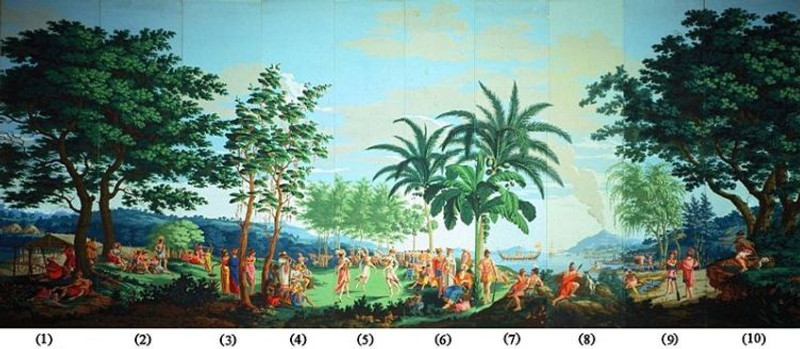 'Sauvages_de_la_Mer_Pacifique',_panels_1-10_of_woodblock_printed_wallpaper_designed_by_--Jean-Gabriel_Charvet--_and_manufacturered_by_--Joseph_Dufour--