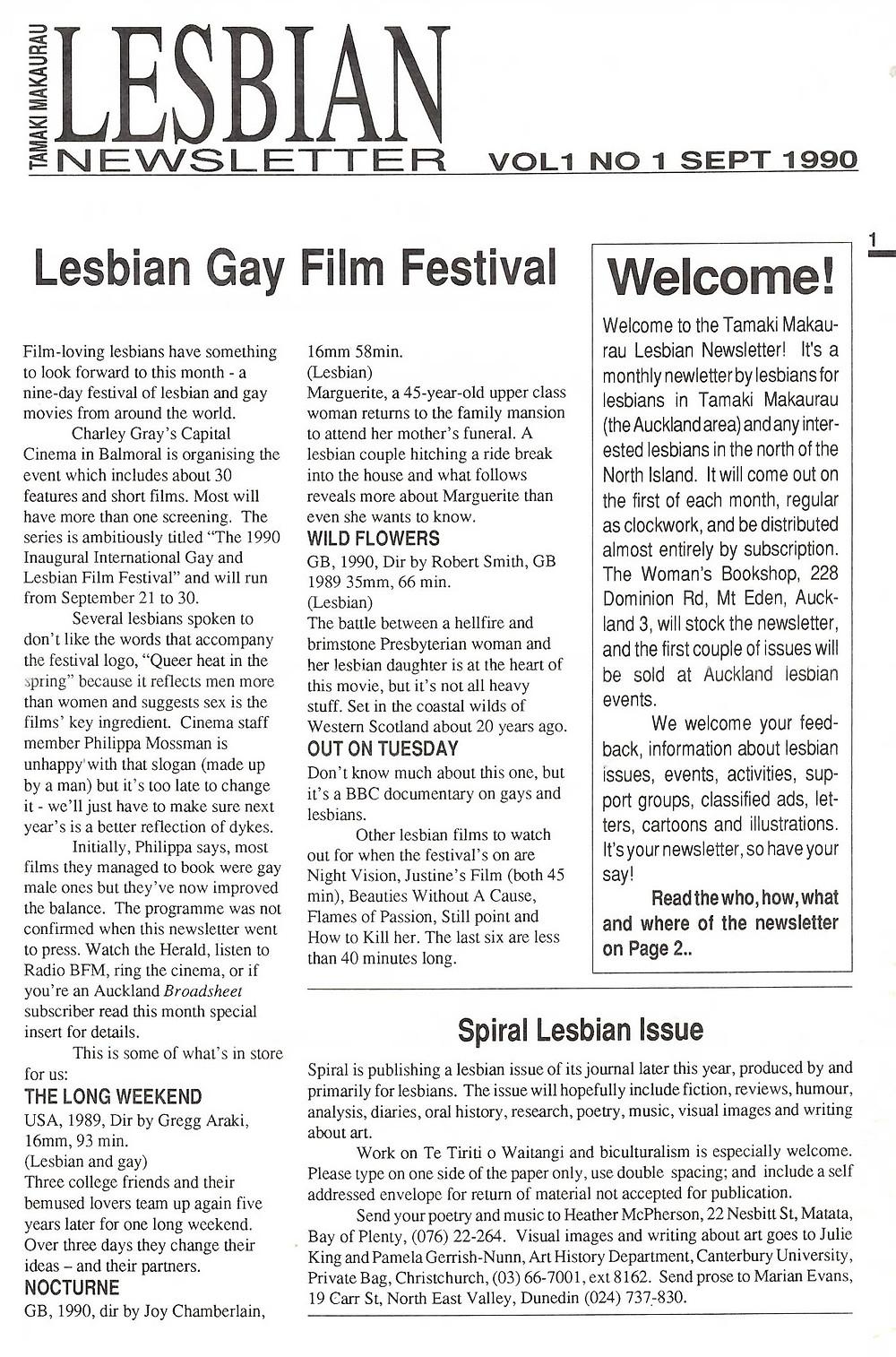 Lesbian Newsletter 1990