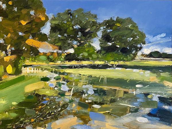River Dene, Charlecote, oil on canvas, 4