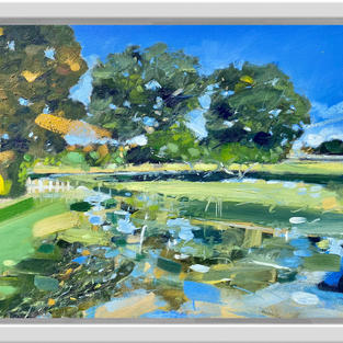 River Dene At Charlecote, 30 x 40cm, oil