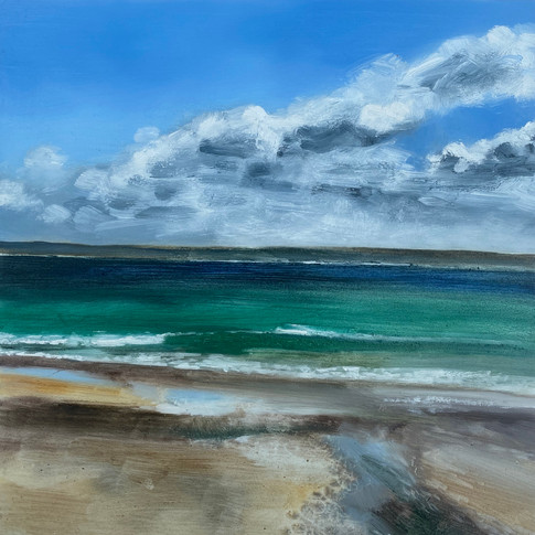 St Ives Harbour Beach, Viridian Sea, oil on aluminium, 30cm x 30c