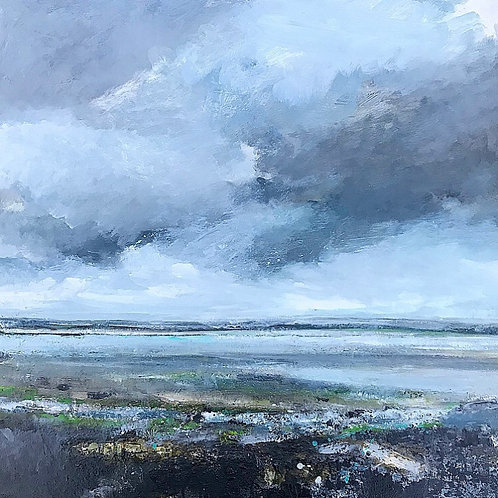 Walk Along Marazion Beach 60cm x 60cm, oil on aluminium