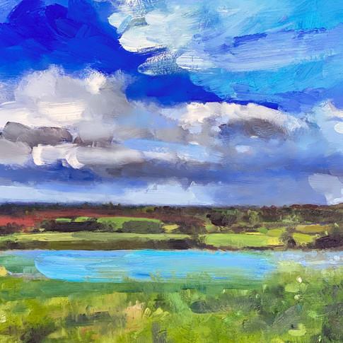 Blue Flax Fields, oil on aluminium, 30cm x 30cm