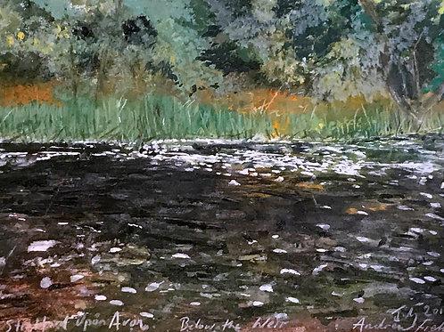 Stratford Upon Avon, Below The Weir, watercolour on paper, 35cm x 30cm