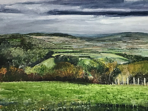 View From Broadway Tower, October 2018, watercolour on paper, 41cm x 51cm