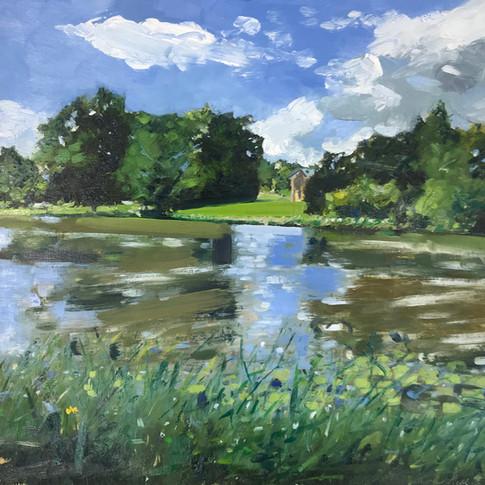 Summer Fishing, Compton Verney, oil on aluminium, 30cm x 30cm