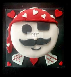 Pirate Face Valentine's Cake